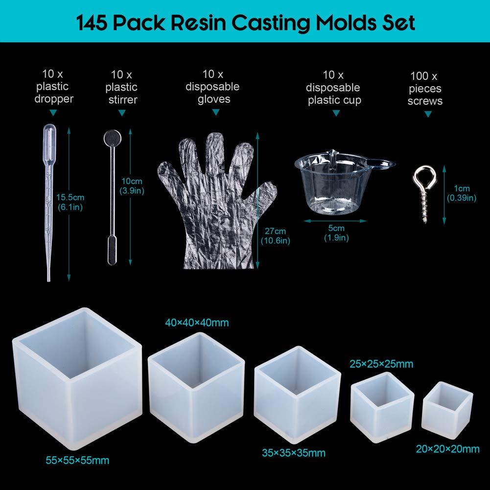 Molde de Joyas Silicona 145 PC, 5 Cubo de Forma Molde Silicona+ 100 piezas de tornillo Pins la Epoxy Resina Moldes,tazas plásticas disponibles, ...