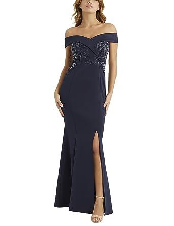LIPSY Womens Sequin Lace Bardot Maxi Dress Blue US 0 (UK 4)