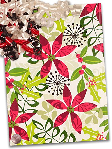 24'' X 100' Christmas Flora Gift Wrap by Paper Mart