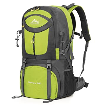Vbiger 60L Mochila Impermeable Mochila para Deporte al Aire Libre para Escalada Senderismo Trekking Alpinismo con Cubierta para la Lluvia (Verde): ...