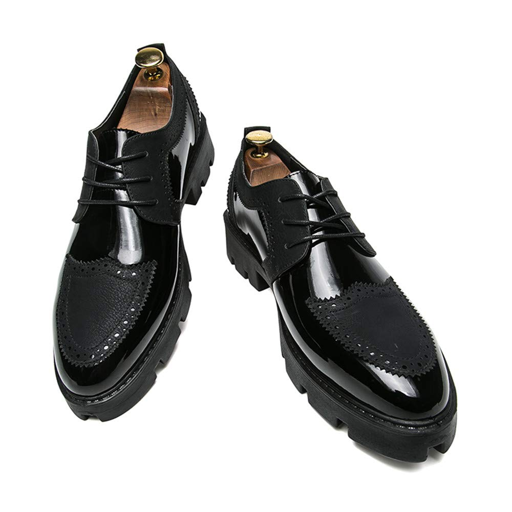 Shufang-shoes Mens Business Oxford Casual Personality Stylish Stitching Thick Patent Leather Brogue Shoes