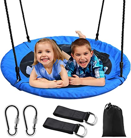 """40/"""" Saucer Tree Swing 700 lb for Kids Adult Outdoor Swing with Hanging Strap Kit"""