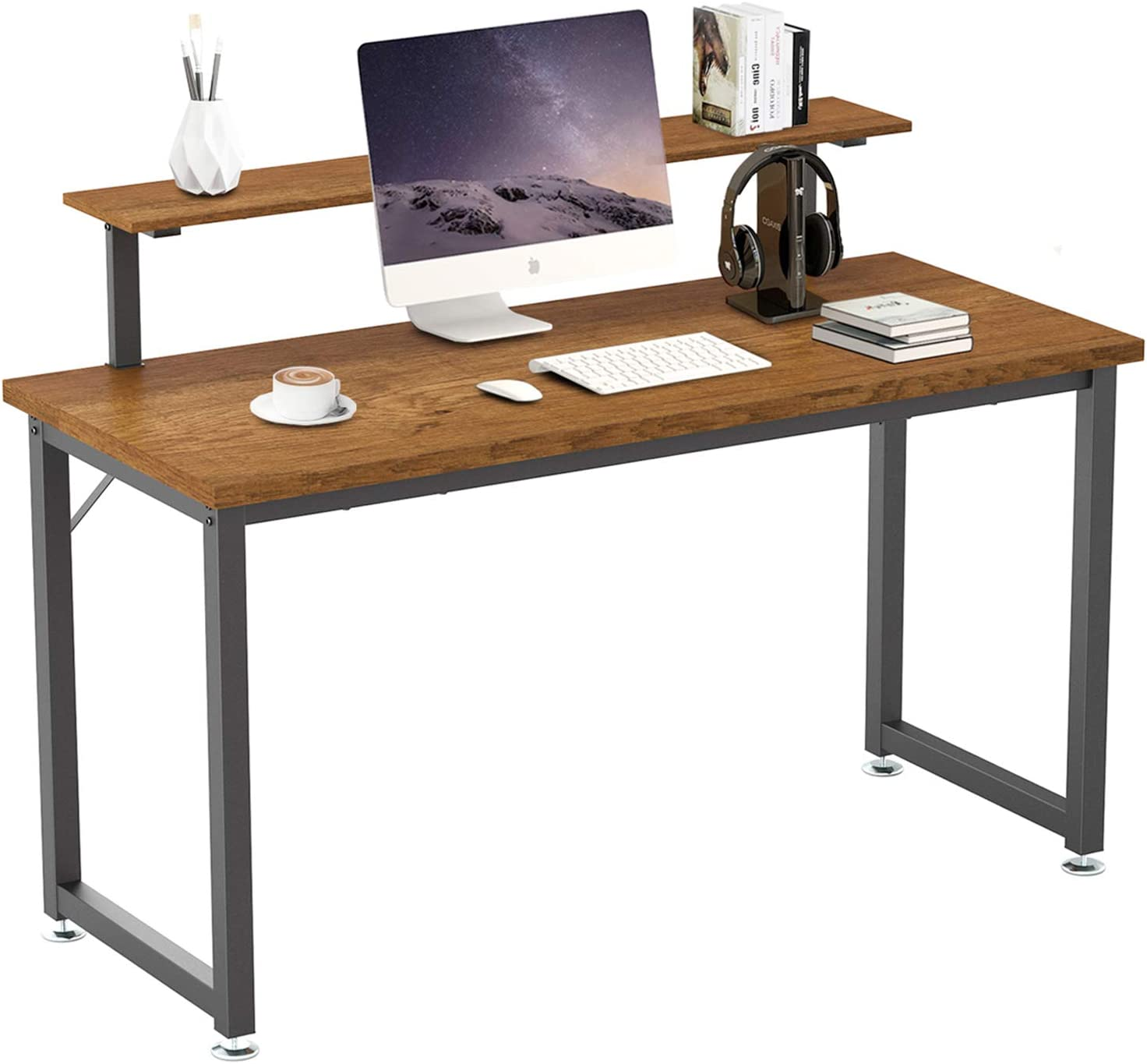 Computer Desk, 55'' Home Office Desk with Monitor Shelf, Work Desk for Home Office, Wood Large and Modern Style, Best Choice for Writing Work and Study