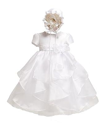 0380b89c0 Amazon.com: KID Collection Baby-girls White Christening Baptism ...