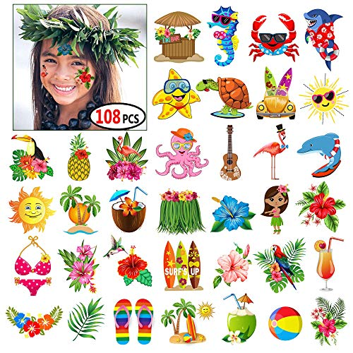 Luau Themed Temporary Tattoos Party Decorations for Kids and Adults,Hawaiian Summer Beach Pool Tattoos Party Favors