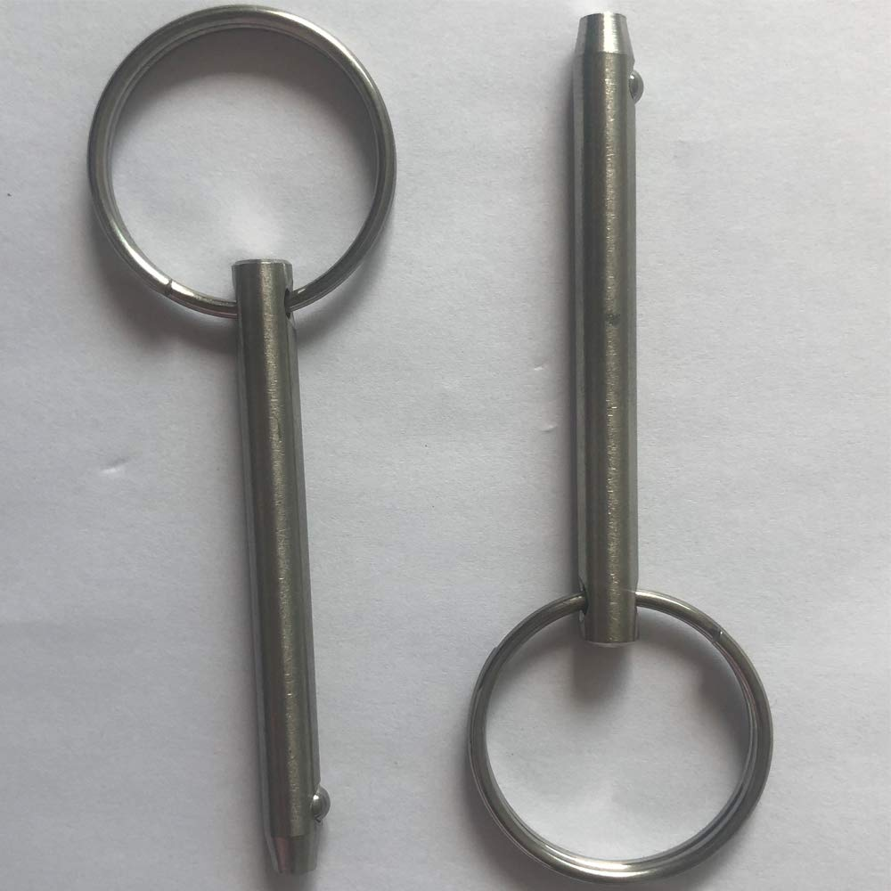 Bimini Top Pin Usable Length 2 51mm Full 316 Stainless Steel 2 Pack Quick Release Pin 6.3mm 65mm Diameter 1//4 Overall Length 2.56 Marine Hardware