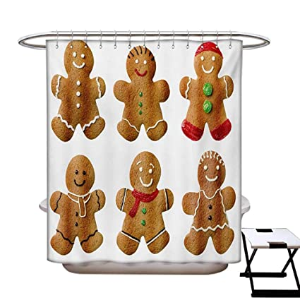 Gingerbread Man Shower Curtains Waterproof Vivid Homemade Biscuits Sugary Xmas Treats Sweet Tasty Pastry Fabric Bathroom Decor Set With Hooks W69 X