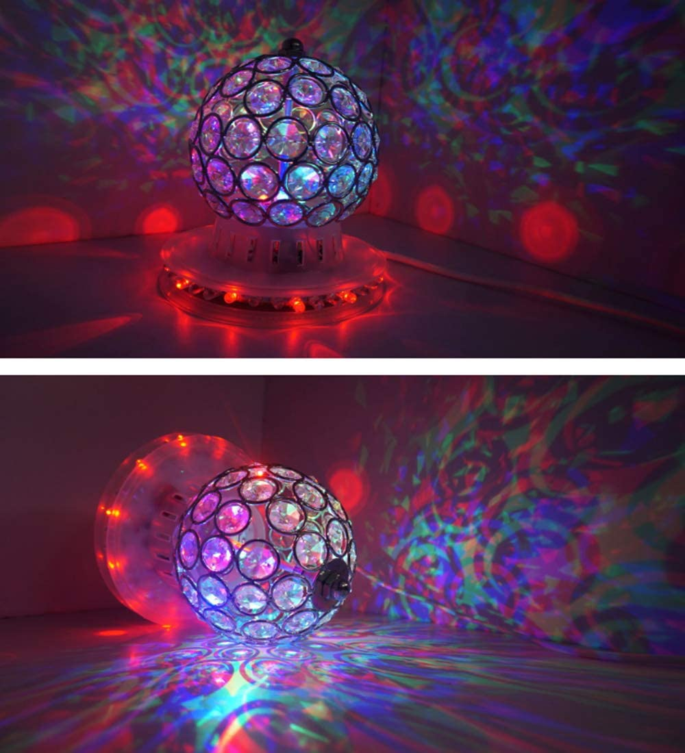 Gold Crystal Magic Ball Light AVEKI Disco DJ Party Auto Rotating Stage Light with Stand LED Multi Colored Lights for Christmas Wedding Birthday Party