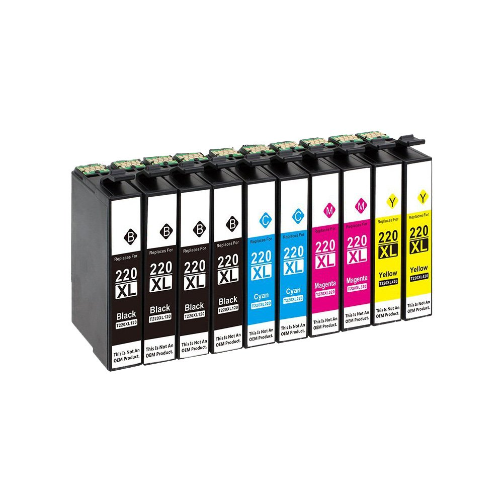 Karl Aiken Remanufactured Ink Cartridges High Capacity Replacement for 220 (4x Black, 2x Yellow, 2x Cyan, 2 Magenta, 10-Pack)