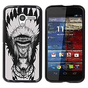 Caucho caso de Shell duro de la cubierta de accesorios de protección BY RAYDREAMMM - Motorola Moto X 1 1st GEN I XT1058 XT1053 XT1052 XT1056 XT1060 XT1055 - Feather Head Decoration Wolf Totem