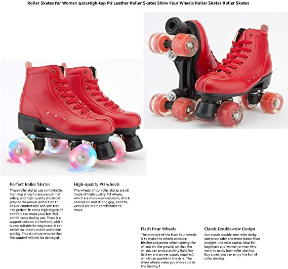 PHSDA Womens Roller Skates PU Leather Adjustable Double Row 4 Wheels Roller Skates Shiny Roller Skates for Kids and Adults Indoor Outdoor