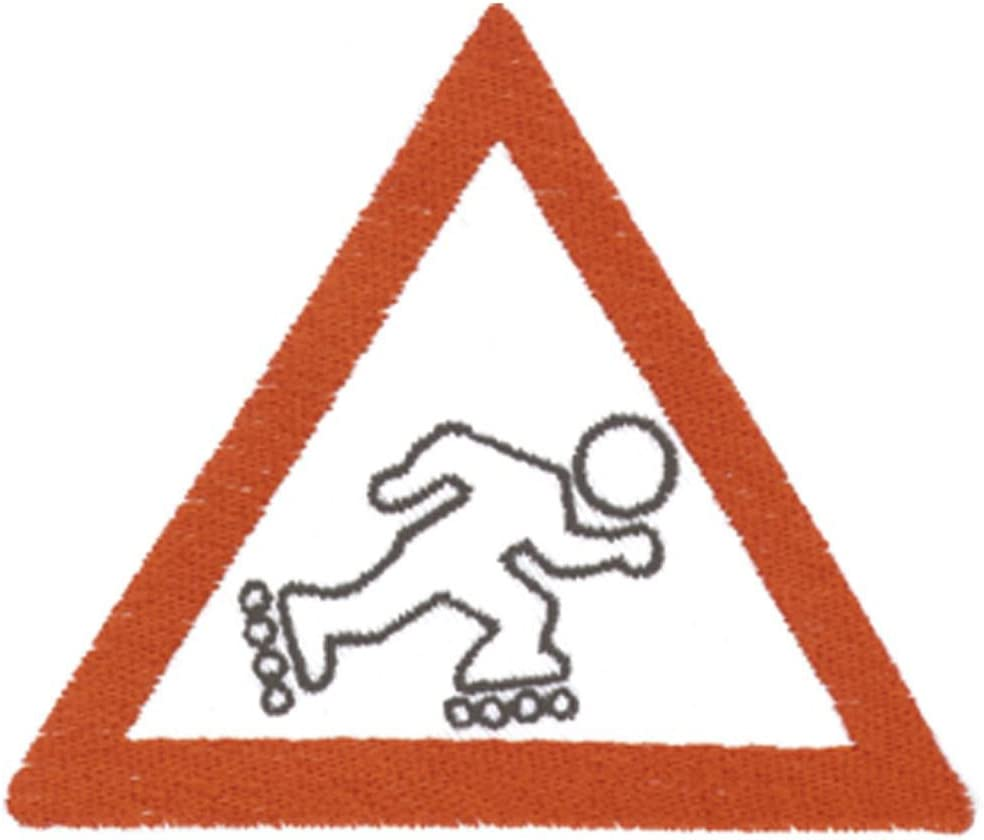 Appliqu/é Motivstick Badge Emblem Sew-On Badge Iron-On Patch-Warning Rollschuhfahrer-Size approx 9.5 CM x 8.5 CM 03043 Sports Hobby Skating skates