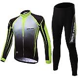 d.Stil Herren Radtrikot Set Langarm Fleece mit Sitzpolster UV - Schutz Atmungsaktiv Fahrrad Jersey + Fahrradhose Radsportanzug S - XXL