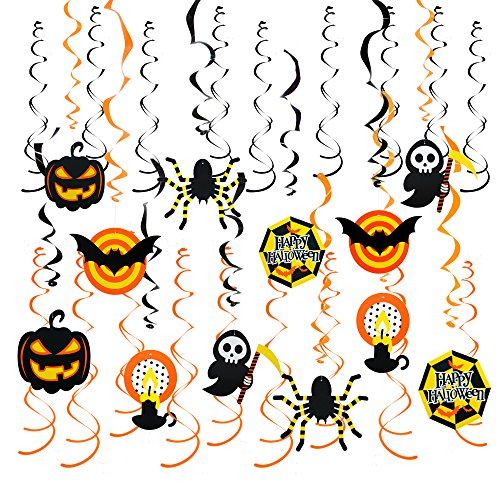 Ghosts & Spiders Swirl Decorations (30Pcs Halloween Hanging Swirl Decorations Bats&Spiders&Pumpkins Swirl Ceiling Hanging Decoration,Mufti-Color,30 pieces by Friday Night)
