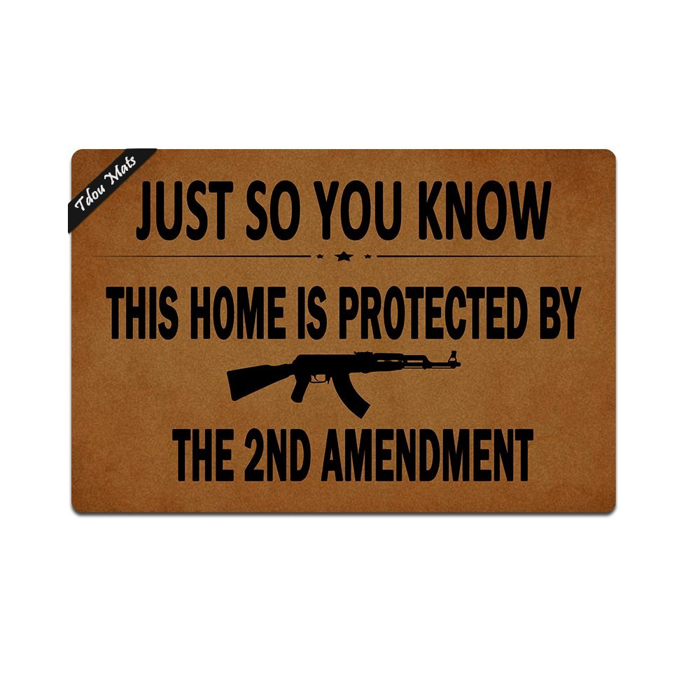 Tdou Doormat In Here Entrance Floor Mat Funny Doormat Home and Office Decorative Indoor/Outdoor/Kitchen Mat Non-slip Rubber 23.6''x15.7'' -This Home Is Protected By The Second Amendment