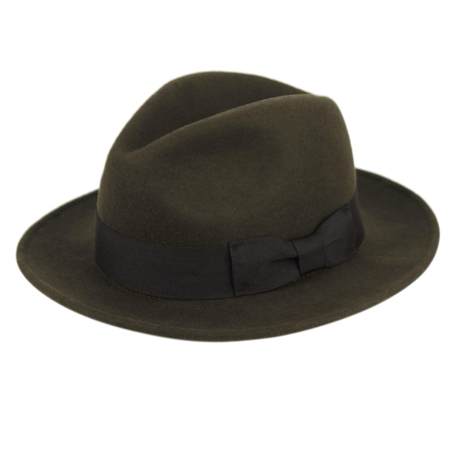 1930s Mens Hat Fashion Mens Premium Milano Wool Felt Fedora Grosgrain Band Hat $39.00 AT vintagedancer.com