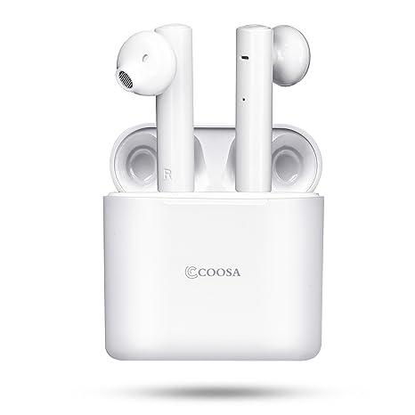 COOSA Mini Auriculares Inalámbricos Bluetooth Sonido Estéreo Verdadero para Deportes Auriculares de TWS Bluetooth 4.2 con
