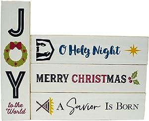 Trinity Church Supply Holy Family Nativity Themed Wooden Christmas Tree Ornaments, Holiday Wall Decor, 6 Inch, Set of 4