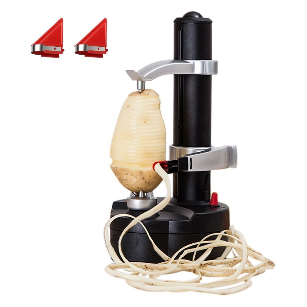 LOHOME Electric Potato Peeler [2 Extra Blades] - Automatic Rotating Fruits & Vegetables Cutter Apple Paring Machine - Kitchen Peeling Tool