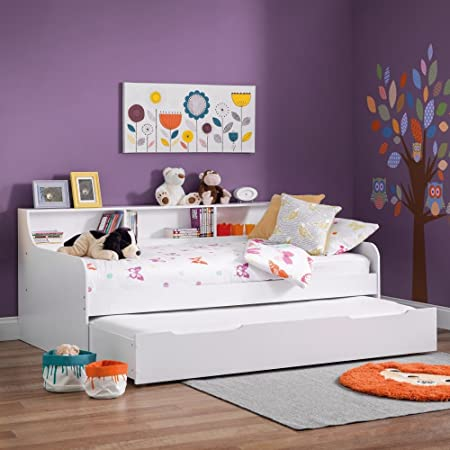 Happy Beds Wooden Guest Bed Daybed With Trundle, Grace White Wood Modern  Day Bed