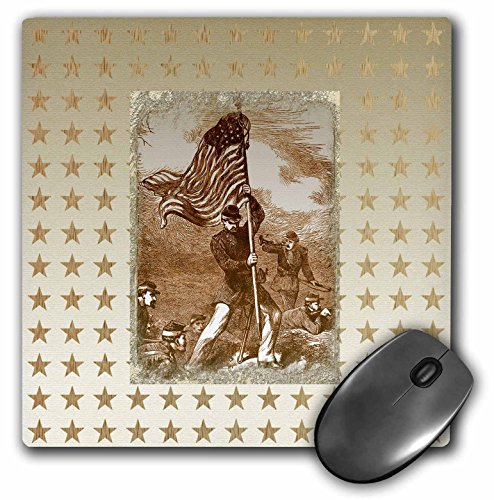Battle Flag Square (3dRose Beverly Turner Patriotic Design - Vintage Look, Soldier with American Flag, Battle, Star in Sepia - MousePad (mp_192589_1))