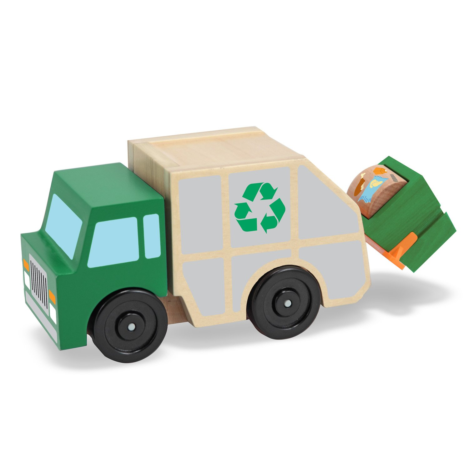 Melissa & Doug Garbage Truck Wooden Vehicle Toy (3 pcs) 4549