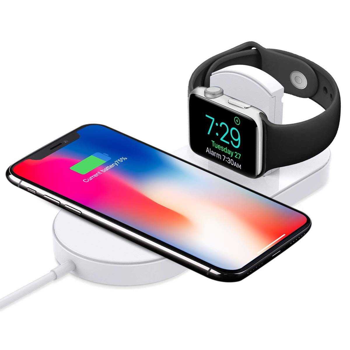 Generic Wireless Charger, 2 in 1 Stand Charging Pad, Fast Receiver Certified Qi Compatible with iPhone Xs/XS Max/XR/X/8 Plus/8, iWatch Series 3/2, Samsung Galaxy Note 8/S8 Plus/S7 Edge by Generic