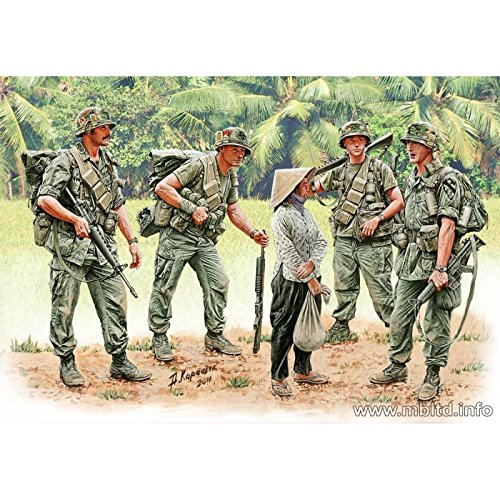 Master Box US Soldiers Patrolling Vietnam (4 and Woman) Figure Model Building Kits (1:35 Scale) (1 35 Masterbox)