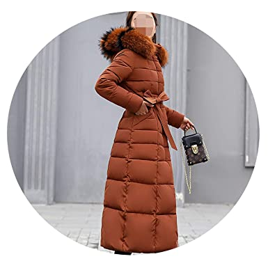 Amazon.com: Khunria-show-outerwear Women Big Fur Belt Hooded Thick Down Female Jacket Slim Warm Winter Outwear 2019 New,Brown Fur,M: Clothing