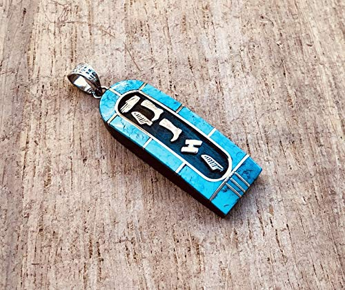 (Custom Name Egyptian Personalized Ebony Blue Inlaid Wide Sterling Silver Cartouche Charm In Hieroglyphics or Arabic Or English - Made By AYALZ - Up to (7 Characters))