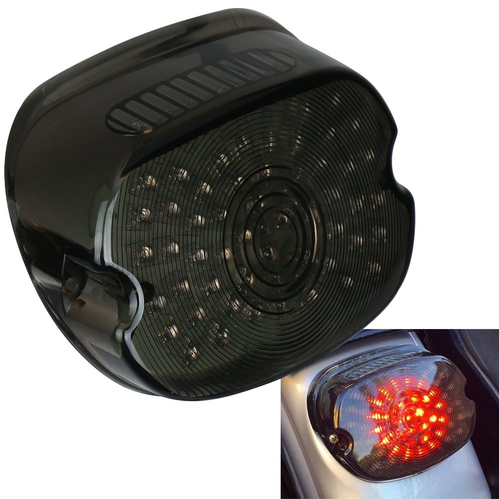 OVOTOR Smoked Harley LED Tail Light Lay Down Tail Lamp with Braking Turn Signal for Sportster DynaFXDL Electra Glides Road King