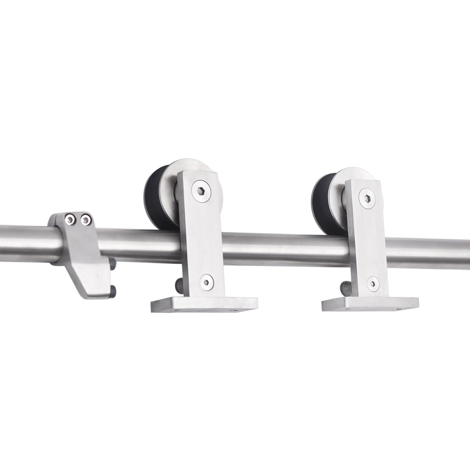 SMARTSTANDARD SDH0080STAINLESS01 Top Mount Sliding Barn Door Hardware Kit, 8ft Single Rail,Stainless Steel, Super Smoothly & Quietly, Simple & Easy to Install, Fit 42''-48'' Wide (T Shape Hanger)