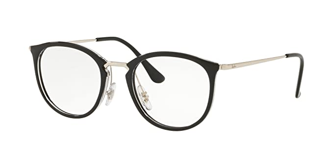 c4900d27383 Image Unavailable. Image not available for. Color  Ray-Ban RX7140-5852  Eyeglasses TRANSPARENT ON TOP BLACK 49mm