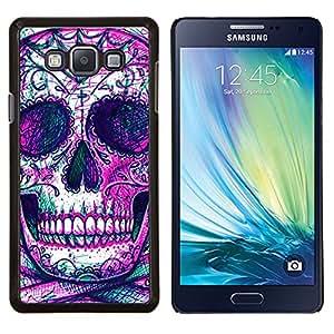 LECELL--Funda protectora / Cubierta / Piel For Samsung Galaxy A7 A7000 -- Cráneo Esqueleto tinta púrpura del tatuaje --