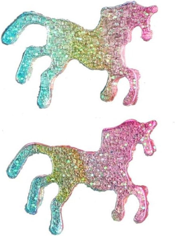 Topdo 1 par de pendientes para mujer, diseño de unicornio de la suerte, coloridos, para caballo