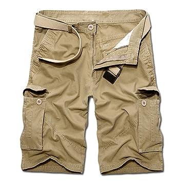 f3bda5f7e2 Amazon.com: NUWFOR Men's Summer Pure Cotton Multi-Pocket Overalls ...
