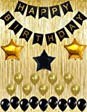 Black and Gold Decoration Kit, Gold Metallic Foil Fringe Shiny Curtains, Happy Birthday Banner with Latex & Star Foil Balloons, Best Party Supplies for 21st 30th 40th 50th Bday Boy Girl Theme