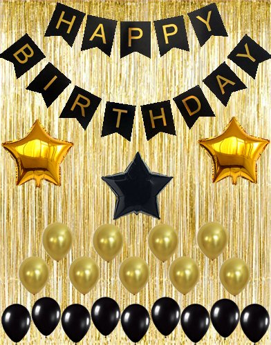 KATCHON 032 Black Decoration Kit, Gold Metallic Fringe Shiny Curtains, Happy Birthday Banner with Latex & Star Foil Balloons, 1