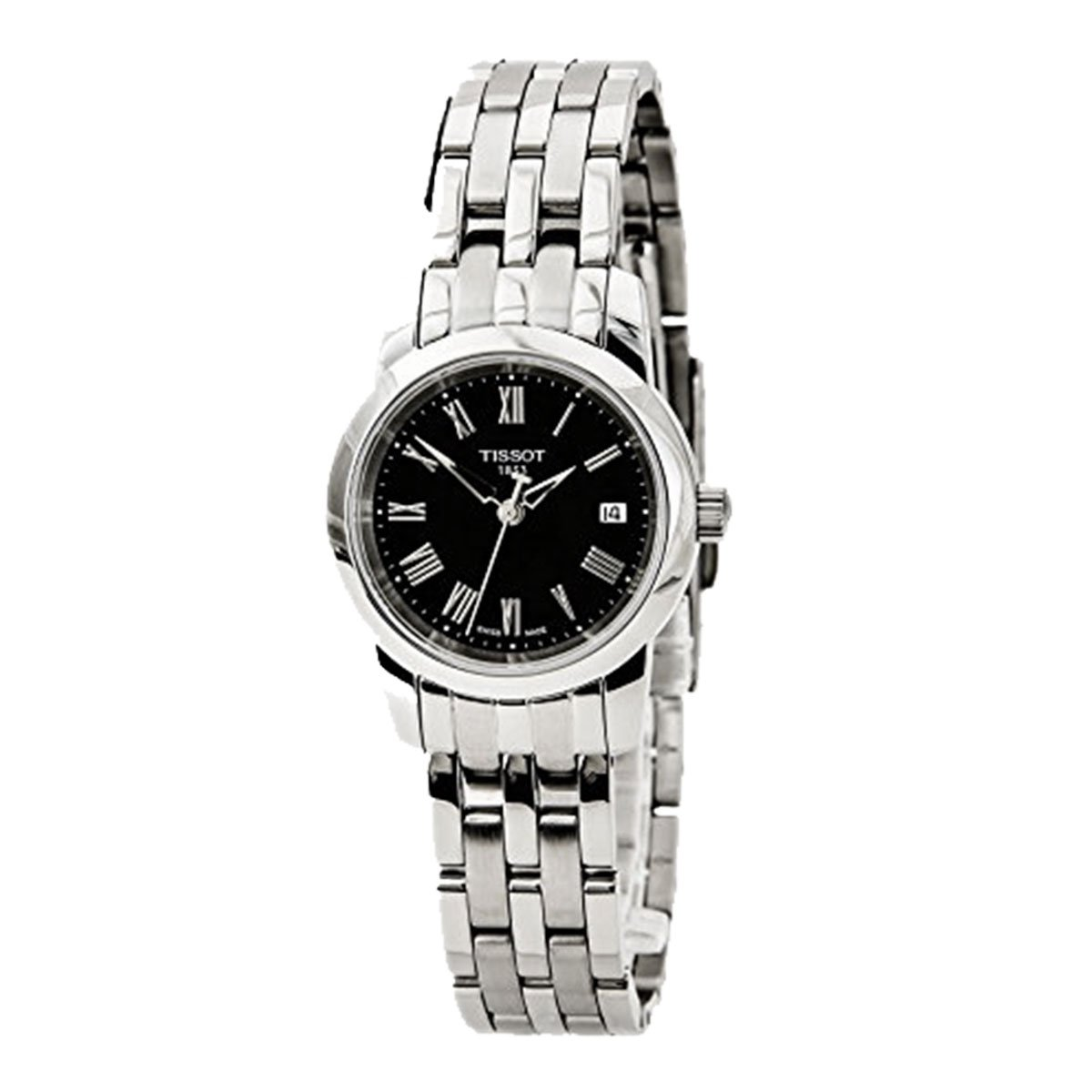 Tissot T0332101105300 Womens Stainless Steel Case and Bracelet Black Dial Date Display Roman Numerals