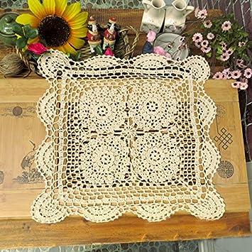 tidetex Handemade cuadrado tridimensional flores funda para mesa mantel de Hollow Out de encaje crochet Doilies