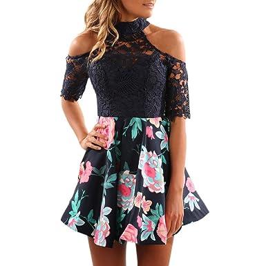 Kleider Damen, Bekleidung Longra Frauen Sommer Blumenspitze-Kleid ...