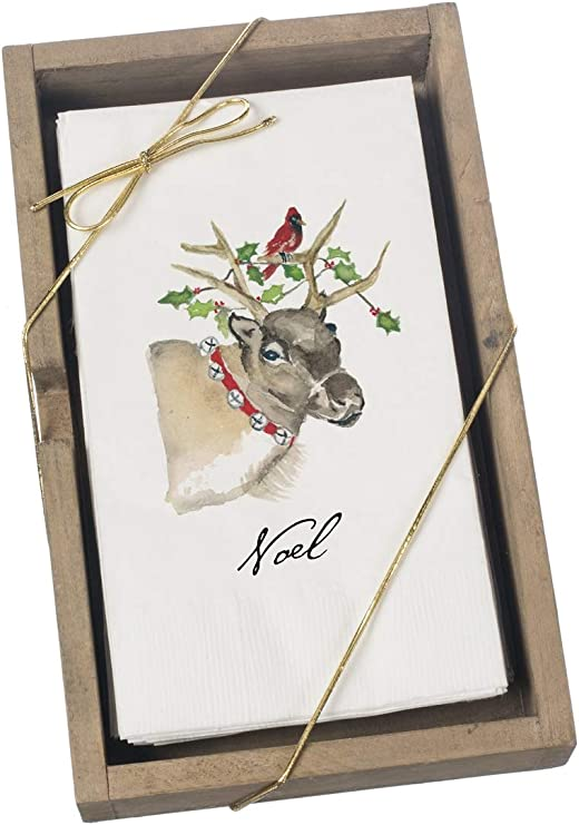 Sullivans Box of 16 Guest Towels in a Wooden Box Cynthia Dunn Reindeer Motiff Made in The USA Looks Perfect for The Holidays with Your Table Setting or in a Guest Bath to add a Festive Look