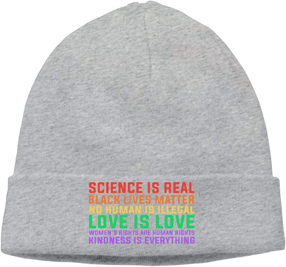 Casual Knitting Hat for Men Women Science is Real Black Lives Matter Stocking Cap