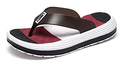 9012c135640222 Yooeen Men s Women s Flip Flops Comfort Soft Padded Beach Walking Slippers  Summer Multicolored EVA Flip-