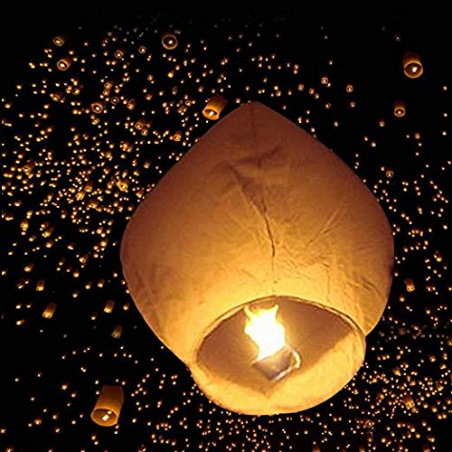 Leadzm 50 Pack Fire Sky Lanterns Chinese Paper Sky Flying Wishing Lantern Lamp Candle Party Wedding Wish (Kongming Wish Lanterns) (White)
