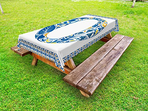 Ambesonne Letter O Outdoor Tablecloth, Blue Capital Letter in Framework Portuguese Tile Art Azulejo Floral Design, Decorative Washable Picnic Table Cloth, 58