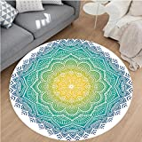 Nalahome Modern Flannel Microfiber Non-Slip Machine Washable Round Area Rug-olor Mandala Pattern with Sun in Center Indian Art Meditation Zen Theme Yellow Green Blue area rugs Home Decor-Round 32''