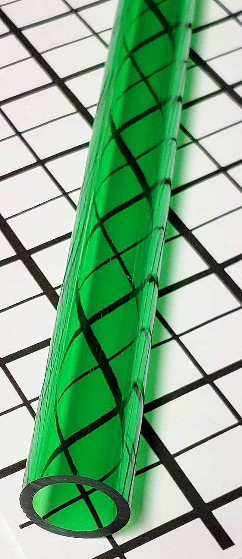 1 Pc 1 Diameter x 36 Long Clear Green Translucent Acrylic Plexiglass Lucite Tube 1 OD x 3//4 ID x 36
