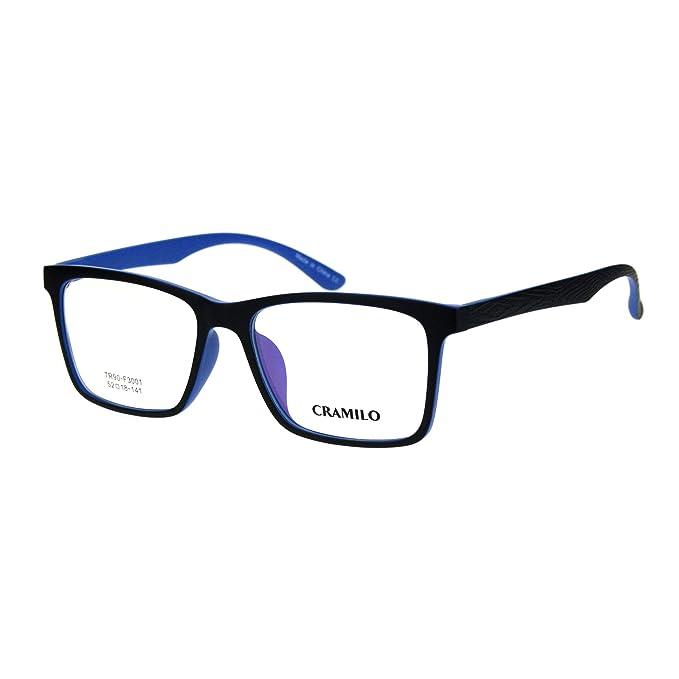 7d78d71459d6 Mens 52mm TR90 Plastic Rectangle Wood Grain Arm Horn Rim Optical Frame Black  Blue