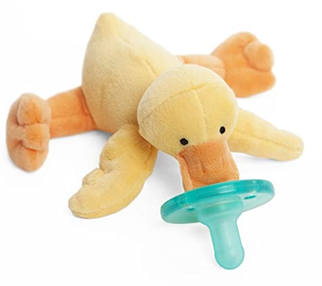 Blue Calf Baby Silicone Pacifier with CUDDLY Plush Animal